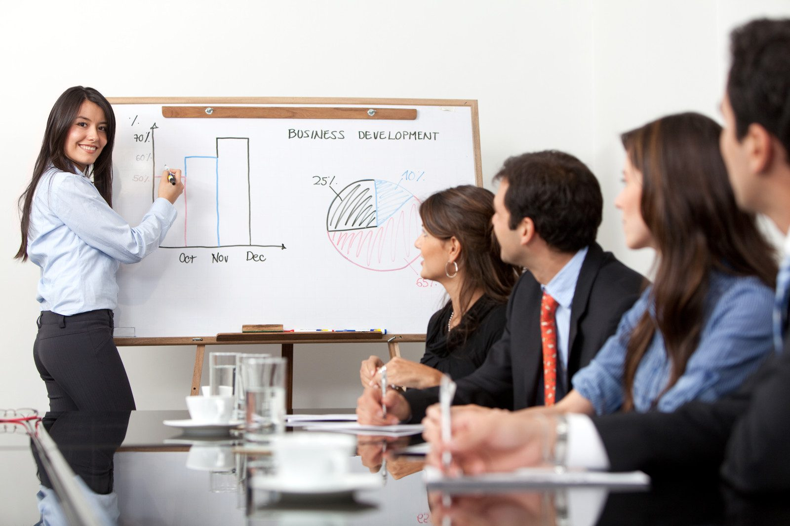 Woman Giving a Presentation with Visuals